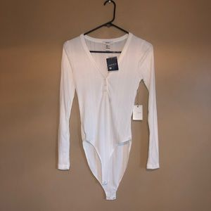 Long Sleeve Ribbed White Bodysuit